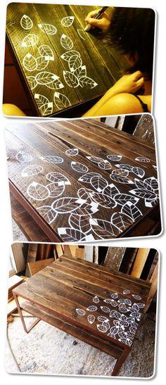 Table métal, illustration et bois de palettes - création Rdutemps.fr