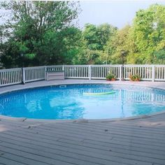 This is a full pool deck extending all the way around the entire pool with cedar rails and trex floor.