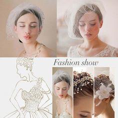 Elegant Women Fascinator Wedding Bridal Birdcage Netting White Veil Hair Comb