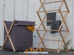 Pesuliisu set of 2 clothes airer and laundry basket perfect | Etsy