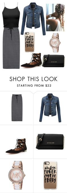 """Casual Church Outfit!"" by madelincarcamo ❤ liked on Polyvore featuring WithChic, LE3NO, Aquazzura, Michael Kors and Casetify"
