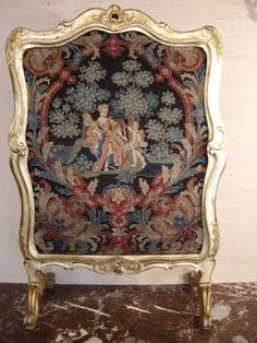 Chaminee Gilded Wood And Upholstery Louis XV Fire Screen   c. 18th Century