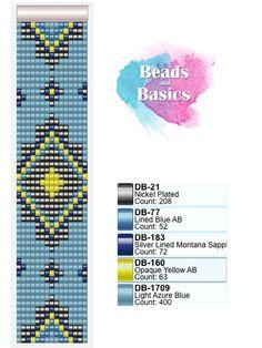 miyuki delica beadloom pattern blue and yellow geo pattern - miyuki weefarmbandjes patronen