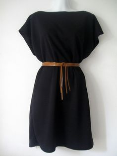 black kimono dress with tan leather belt - literally fold a 2 yard piece of fabric in half, sew up the sides and tie a belt around.