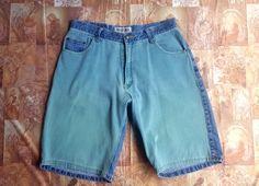 fba207e825b6 Bugle Boy Two Tone Denim Shorts / Size 34 / Unisex / 80s 90s Hip Hop