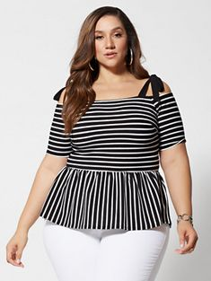 Plus Size Natalie Striped Bow-Shoulder Peplum Top in Black Size 0 - Fashion to Figure Curvy Girl Fashion, Cute Fashion, Plus Size Fashion, Dress Fashion, Women's Fashion, Looks Plus Size, Plus Size Tops, Curvy Outfits, Plus Size Outfits