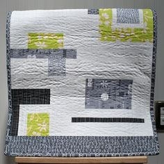 modern quilt – yellow and grey