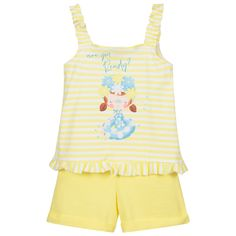 Yellow Shorts, White Shorts, Yellow Print, Pearl Studs, Kids Online, Outfit Sets, Kids Outfits, Swimsuits, Shoulder Straps