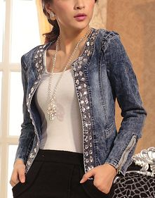 Cheap jacket women coat, Buy Quality outerwear coat directly from China retro jacket women Suppliers: 2017 Slim Denim Jackets Outerwear Coats Classical Rhinestone Sequins Retro Jackets Women Coats With Rivets Female Jackets Denim Outfits, Mode Outfits, Coats For Women, Jackets For Women, Clothes For Women, Ladies Jackets, Denim Mantel, Short Denim, Fashion Casual