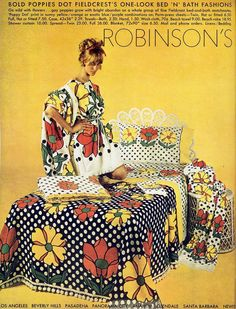 For the latest in swinging suburban bedroom camouflage, check out the latest from Fieldcrest!  (Robinson's, 1975)