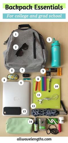 My Backpack Essentials for College and Graduate School My Backpack Essentials for College and Graduate School,College Tips My Backpack Es.