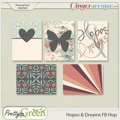 """FREE """" Hopes and Dreams """" Journal Cards by Pretty in Green : The GingerScraps 7th B-Day Facebook Hop"""