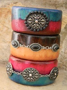 Wooden Bangle Bracelet Brown and Black Rhinestone by StepOriginals, $19.99