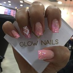 Diy Nails Manicure, Glow Nails, Sparkle Nails, Silver Nails, Pink Acrylic Nails, Pink Nails, Gorgeous Nails, Pretty Nails, Cruise Nails