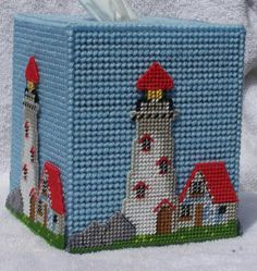 Plastic Canvas Bear Free Patterens | Lighthouse Tissue Box Image | Lighthouse Tissue Box Picture Code Plastic Canvas Coasters, Plastic Canvas Ornaments, Plastic Canvas Tissue Boxes, Plastic Canvas Crafts, Plastic Canvas Patterns, Yarn Storage, Lighted Canvas, Yarn Crafts, Felt Crafts