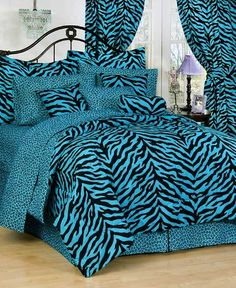Blue Zebra Bedding - Add African funky chic to your bedroom with blue zebra print bedding. We offer blue zebra bedding sets in all sizes and prints Zebra Print Bedding, Leopard Bedding, Blue Bedding, Leopard Bedroom, Animal Bedroom, Teen Girl Bedding, Dorm Room Bedding, Teen Bedroom, Zebra Bedrooms