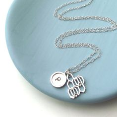Cellular And Initial Tag Necklace by ZeldaWong on Etsy