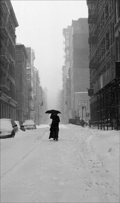 """My novel """"Subway Hitchhikers"""" runs through a world like this. Haik Kocharian, """"Woman in the Snow,"""" 2005 . the city seems abandoned. Umbrella Photography, Birds In The Sky, Parasols, Snow Scenes, Black N White, Artistic Photography, Shades Of Grey, Black And White Photography, Paths"""
