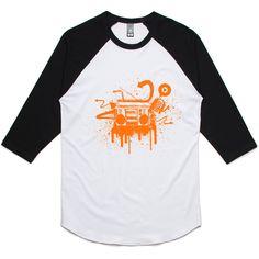 theIndie Boombox Graffiti (Orange) 3/4-Sleeve Raglan Baseball T-Shirt