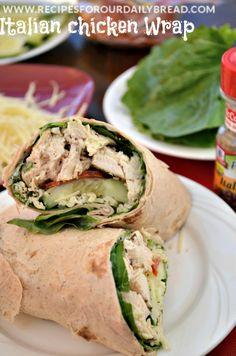 Italian Chicken Wrap recipe - So Easy, Healthy, and YUMMY! http://recipesforourdailybread.com/2014/01/21/italian-chicken-wrap/ #wraps #healthy
