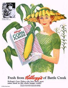 Corn Cob Hat. For the woman who appreciates fresh-picked millinery in season. (Life, 1958)