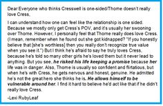 My opinion on CressWell. <<<plus he was super protective of her, just saying