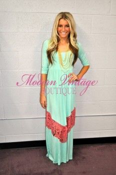 3/4 Sleeve Mint and Pink Lace Maxi Dress - Modern Vintage Boutique- cheap websites - cute dresses