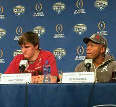 Jake Coker Cyrus Jones MVPs of Cottonbowl Alabama Football. 12-31-15, Alabama 38 Michigan state 0
