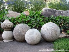 Simple Details: diy restoration hardware garden spheres...also I understand if you mix buttermilk and manure, bury them for awhile, u can create great stained concrete! Worth a try!