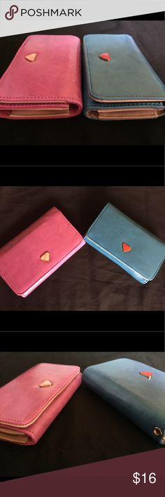 Handheld Clutch Wallet Shiny Cover Handheld Clutch Wallet Shiny Cover, fits iPhone 5 or iPhone 6 or similar. Credit card slots inside. Beautiful texture inside and outside. Pick from blue or magenta/pink color. Bags Clutches & Wristlets
