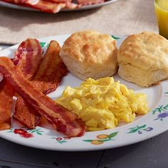 A meal with bacon, eggs and biscuits make for one delicious breakfast. Pick up CB Old Country Store Buttermilk Baking & Pancake Mix for the best country biscuits at home.