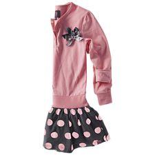 Fiona stippen jurkje -Peach pink - antraciet
