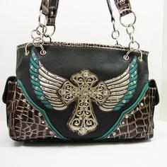 Gorgeous Black Leather Purse Handbag Teal Silver Wings Rhinestone Cross studs