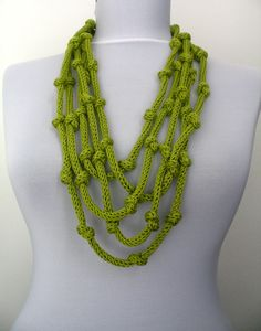 This is my new design.  Multiple cords of hand knit yarn in different colors and size.    You can leave necklace long or wrap it around your neck.  Is it a scarflette or a necklace???  A wonderful accessories for any outfit.  Very soft and lightweight.    Made in a pet-free and non-smoke home.    Hand wash, hang to dry .    Yarn: 100% pure cotton(Bamboo)    Like this item? More here:  http://www.etsy.com/shop/DreamList?section_id=11231890    Please see the scarf-neckl...