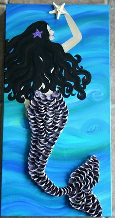 Shell Tail Mermaid. Mermaid Art. Hand by FromCapeMayWithLove