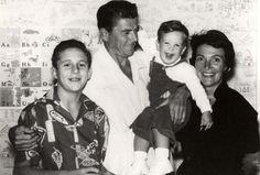 Ronald Reagan, Nancy Reagan, with their sons Ron Reagan and Michael Reagan. 1959-60.