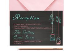 Mason Jar WEDDING RECEPTION CARD Printed or by LoveArtsStationery