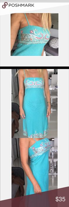 Warehouse dress size 8/ small Warehouse dress size small/8. Baby blue dress with beautiful sequence on top and bottom of dress warehouse Dresses Midi