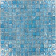 "Ocean Water  Squares, 3/4"" x 3/4"", Blue, Glossy & Iridescent, Blue, Glass"