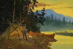 Fly fishing painting by Brett James Smith - Making Camp. Fly fishing painting by Brett James Smith - Canoe Camping, Canoe And Kayak, Camping Stuff, Trout Fishing, Fly Fishing, Fishing Knots, Tarzan, Hunting Art, Outdoor Pictures