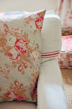 Cabbages and Roses cushion in Tulips and Roses on a soft armchair from Modern Country Style blog: Living Life Beautifully by Christina Strutt: Book Review