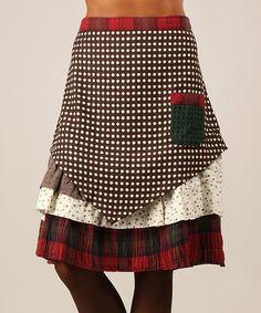Look at this #zulilyfind! Brown & White Contrast Layered Skirt by Ian Mosh #zulilyfinds