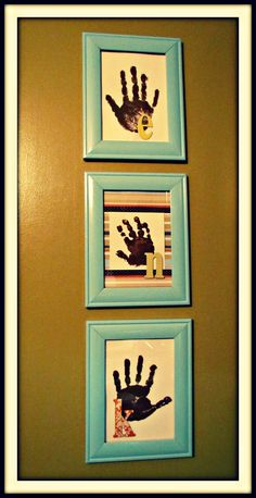 kids hand prints and initials in frames...cute keepsakes