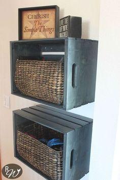 diy mudroom storage crates, foyer, organizing, repurposing upcycling, shelving…