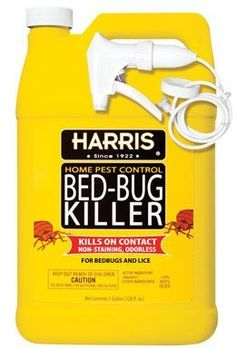 Harris Bed Bug Killer 1 Gallon by Harris. $16.99. Kills bed bugs and lice on contact. Spray matresses, bedside furniture, floors and luggage for control of bedbugs. Approved by the Environmental Protection Agency for control of Bedbugs and Lice.. Economical one gallon size w/sprayer. Odorless and non-staining. Most insecticides used for bed bug control are primarily of the pyrethroid class of pesticides, like Harris Bed-Bug Killer. Elimination of bed bugs in a home involves use ...