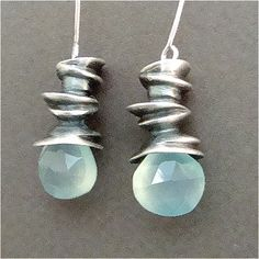 $50 Spiral Earrings with Seafoam Chalcedony Briolettes