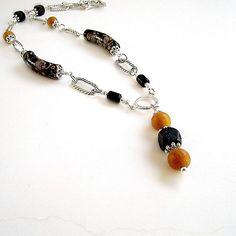 Black Necklace Silver Jewelry Chain Jewellery by jewelrybycarmal, $25.00