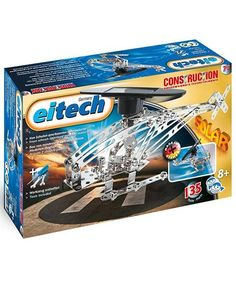 Designed to teach children the basics of solar power, the Eitech Solar Power Helicopter Construction Set works without generators or batteries. Instead, it uses a powerful solar panel to encourage environment friendly play. Once built, simply place the Solar panel directly under sunlight and watch in amazement as it automatically powers up! The 135 piece set comes complete with illustrations and tools for easy assembly.