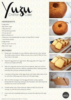 Yuzu Chiffon Cake Recipe - Winnie                                                                                                                                                      More