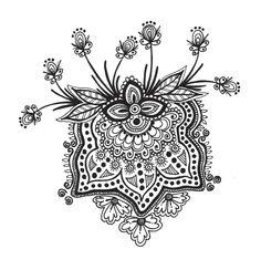 Flower doodle. Tangle. Sketch.
